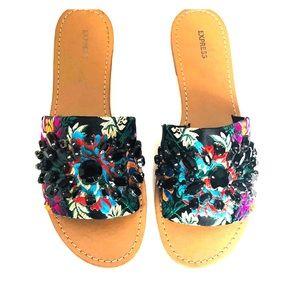 EXPRESS Brocade Sandal Slides Bead Embellished 9